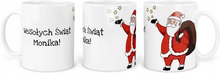 Kubek z Mikołajem Wesołych Świąt TWOJE IMIE 330ml
